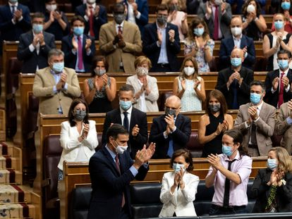 Spanish PM Pedro Sánchez accepts applause from fellow Socialist Party lawmakers in Congress on Wednesday.