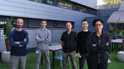 The BoostDM research team (l-r): Ferran Muiños, Francisco Martinez-Jimenez, Abel González-Pérez, Oriol Pich and Núria López-Bigas.