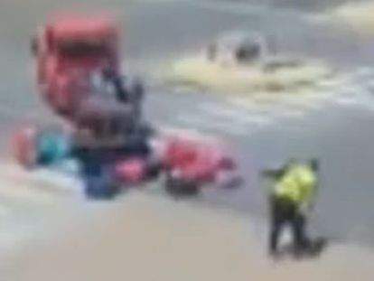 Luggage handler with Iberia airline captured on film hurling and hitting suitcases on the island of Ibiza