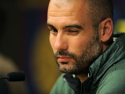 Pep Guardiola at a press conference before the Chelsea game on Tuesday.