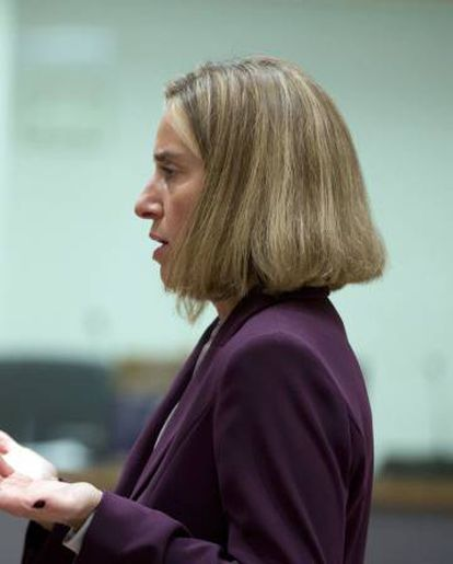 Federica Mogherini at the meeting of EU foreign and defense ministers.