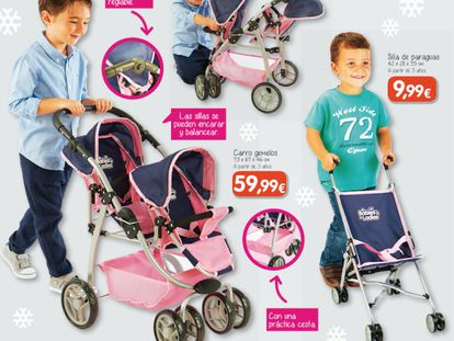 """Toy Planet's Christmas catalogue features boys playing with """"girls' toys"""" and vice-versa."""