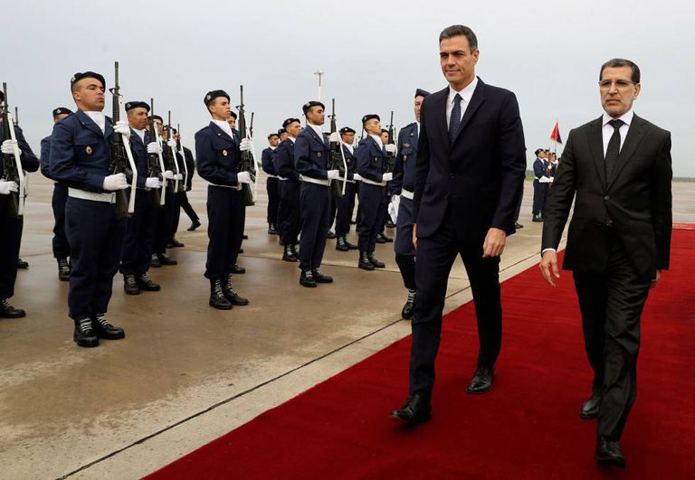 Pedro Sánchez arriving in Rabat on a state visit.