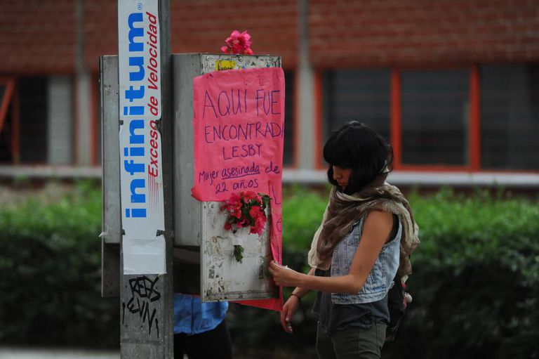 A student at the spot where the victim was found.