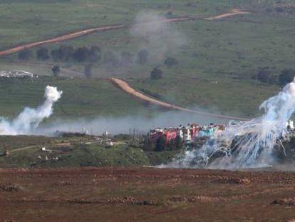 Smoke billows up following Israeli fire in southern Lebanon.