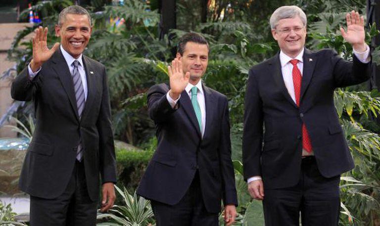Barack Obama, Enrique Peña Nieto and Stephen Harper, in Toluca.