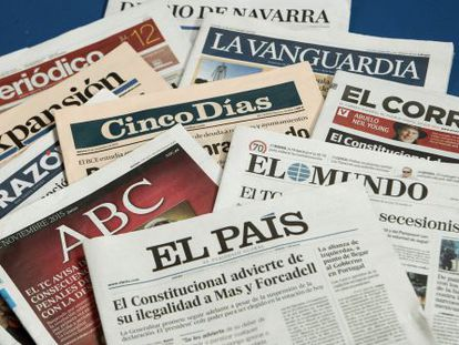 Thursday's front pages of various Spanish dailies.