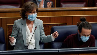 Spain's Deputy PM Carmen Calvo in Congress on Wednesday.