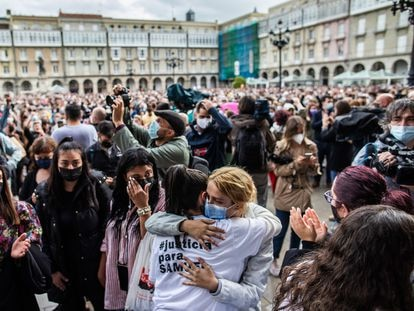 Demonstrators call for justice for Samuel Luiz at a protest in A Coruña on Monday.