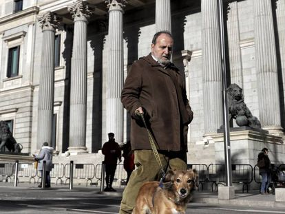 A man walks his dog in front of Spanish Congress.