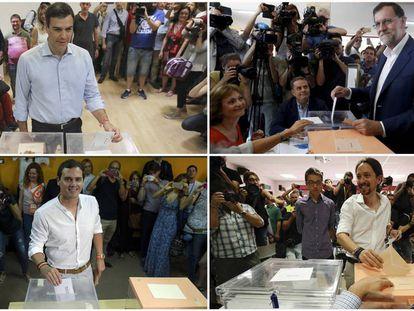 Pedro Sánchez, Mariano Rajoy, Albert Rivera and Pablo Iglesias cast their votes