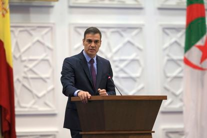 Spanish Prime Minister Pedro Sanchez speaking from Algiers on Thursday.