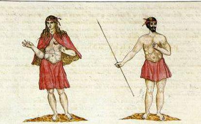 Native inhabitants of La Gomera, in an illustration by Leonardo Torriani (1592).