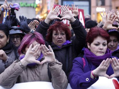A protest against gender violence in Madrid.
