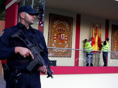 A police officer at today's military parade in Madrid.