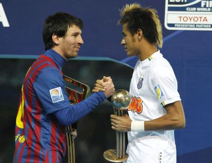 Leo Messi (left) and Neymar greet each other during the Club World Cup in 2011.