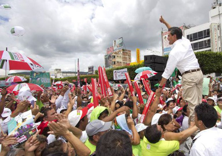 Enrique Peña Nieto seen at a campaign rally last Saturday in Tuxtla, Gutiérrez state.