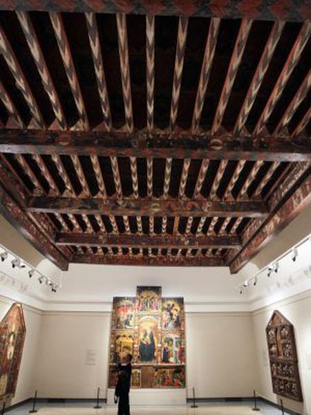 The coffered ceiling installed in the Prado
