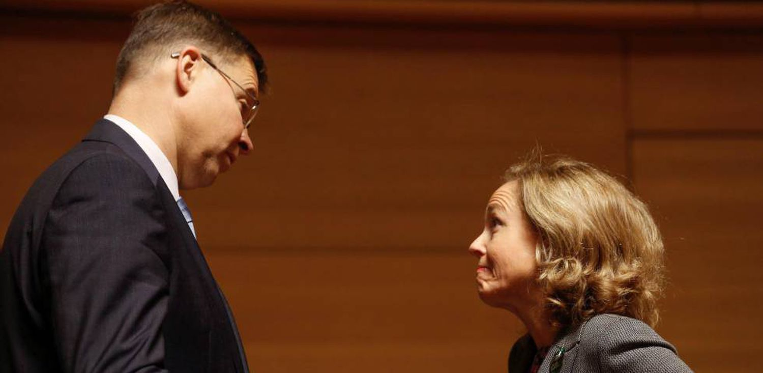 Spain's Economy Minister Nadia Calviño with EU Commission vice-president Valdis Dombrovskis.