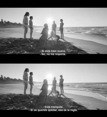 Frames from the two versions of 'Roma.'