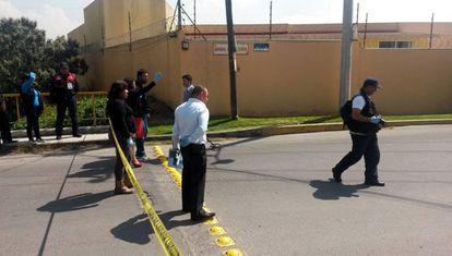The crime scene in Metepec.