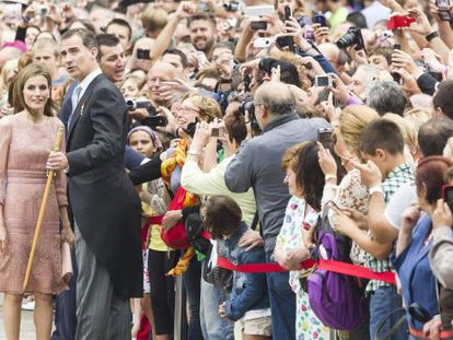 King Felipe VI and Queen Letizia in Santiago's Plaza del Obradoiro on Friday.