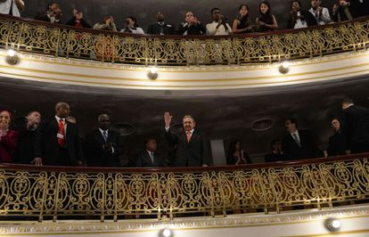 Cuban President Raúl Castro listened to the address from one of the galleries.