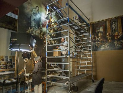 Restoration work on one of Murillo's paintings in the Seville Fine Arts Museum.