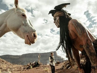 Johnny Depp, in a scene from the remake of The Lone Ranger.