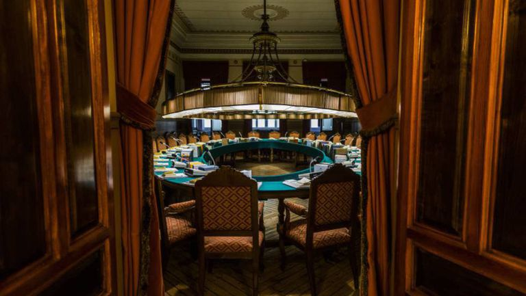 The meeting room in the Spanish Royal Academy.