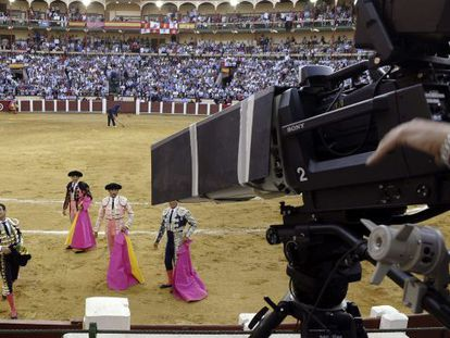 Bullfighters in front of the cameras at Valladolid on Wednesday.