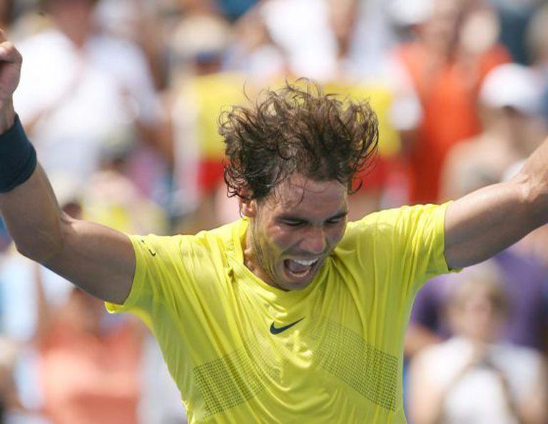 Rafael Nadal celebrates his 7-6, 7-6 win over John Isner.