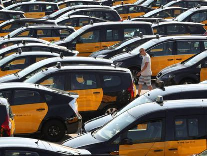 Hundreds of taxis strike outside the Barcelona-El Prat airport.
