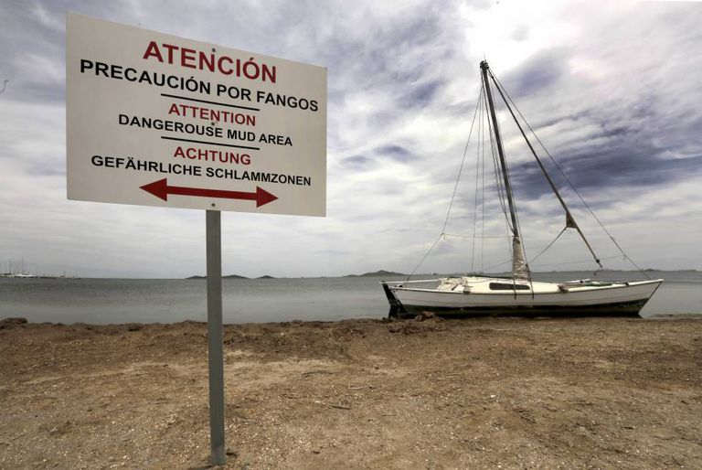 Warning signs on a beach in Murcia.