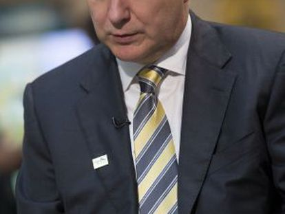 Olli Rehn, EU economic and monetary affairs commissioner, speaks during a Bloomberg Television interview in Washington.