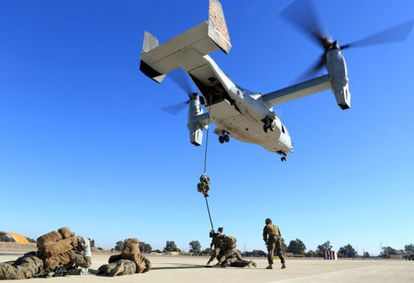 US Marines seen during exercises at the Morón air base on December 6, 2013.