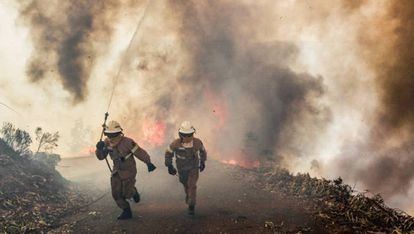 Firefighters running from a blaze in Portugal last month.