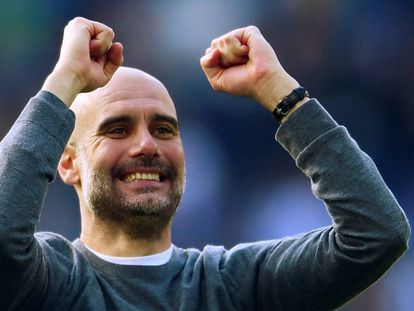 Pep Guardiola celebrates Manchester City winning its second Premier League in a row.