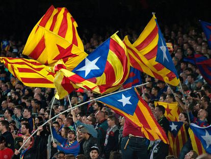 Barcelona FC fans wave their pro-independence flags at a recent game.
