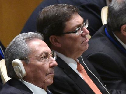 Cuban President Raúl Castro listens to President Obama's speech at the UN on Monday.