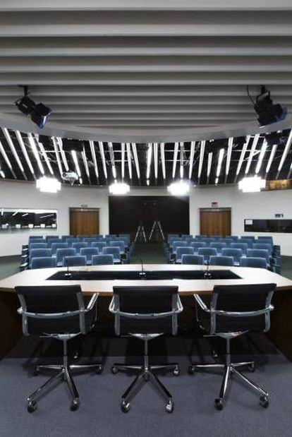 The conference room at the press center.