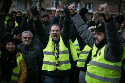 Striking taxi drivers in Barcelona on Tuesday.