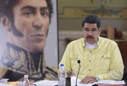El presidente de Venezuela, Nicolás Maduro, en Caracas ayer.