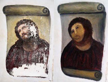 """Ecce Homo, by García Martínez: The original (l), and the """"restoration"""" (r)."""