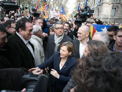 Carme Forcadell walking out of court on Friday.