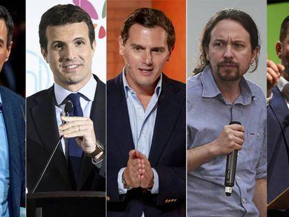 Pedro Sánchez, Pablo Casado, Albert Rivera, Pablo Iglesias and Santiago Abascal.