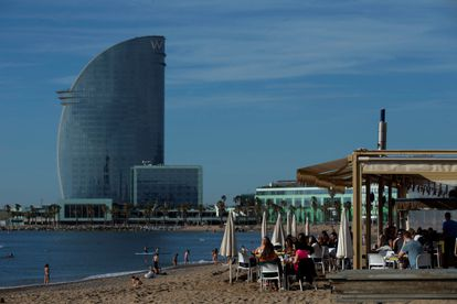 A beach restaurant in Barcelona, which will enter Phase 2 on Monday.