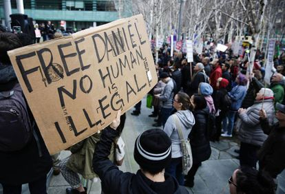 Protests in front of a federal court in Seattle on Friday.