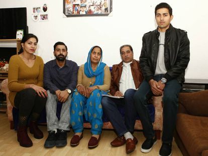 Balwant Singh, (2nd r) with his wife and three children.