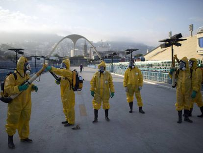 Fumigation against the mosquito that carries Zika at the sambadrome in Rio in January.